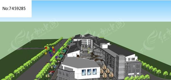 邻里中心-简中式商业街skp素材下载_建筑设计图片图片