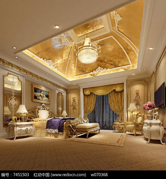 欧式卧室豪华精装修3d模型与效果图(含材质,灯光,渲染