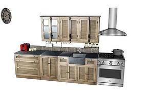 田园风格厨房模型