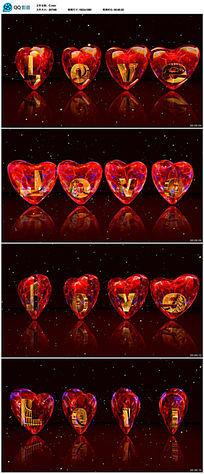 无缝循环红色爱心视频