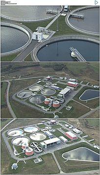航拍污水处理厂实拍视频素材