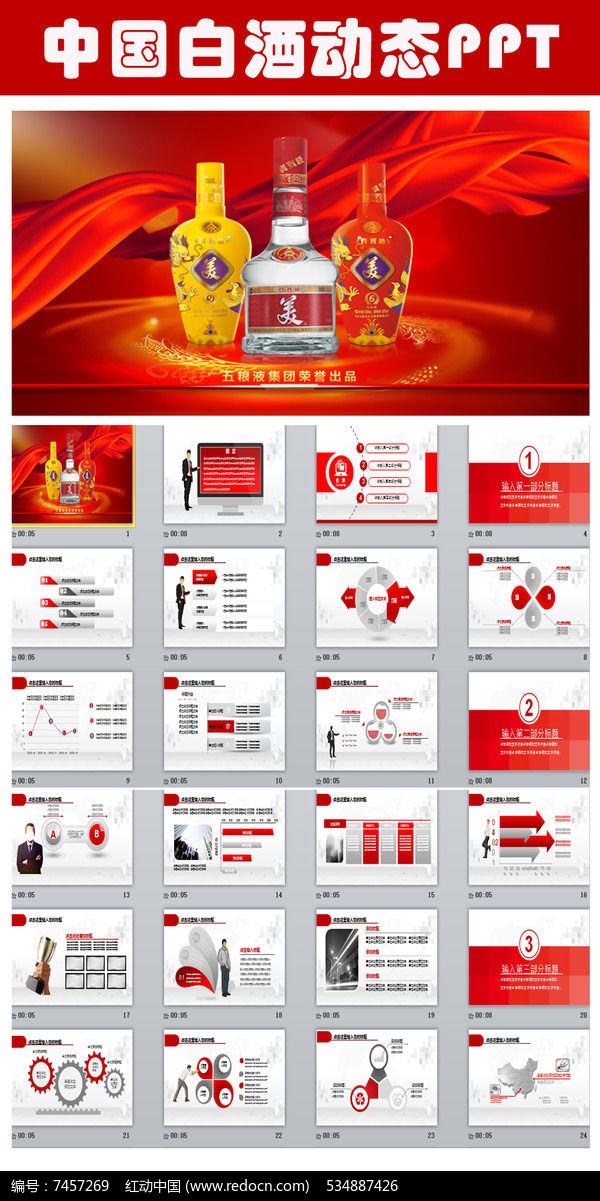 红色大气中国白酒PPT模板图片