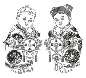 金童玉女雕刻图案