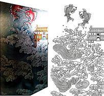 鲤鱼跃龙门雕刻图案 CDR