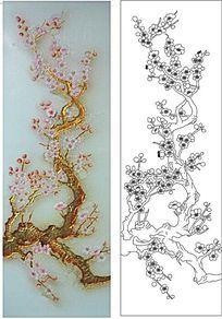 梅花深雕雕刻图案