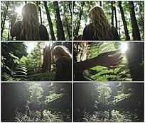 树林间美女阳光枝叶视频 mov