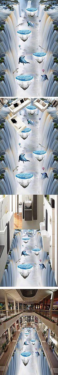 悬崖瀑布浴室走道3D地板 PSD