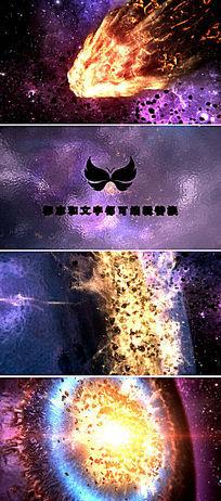 震撼宇宙陨石撞击爆炸logo片头模板