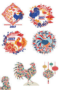 2017鸡元素春节艺术图案