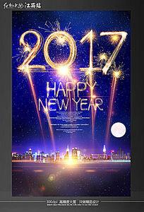 创意烟花2017新年海报设计模板