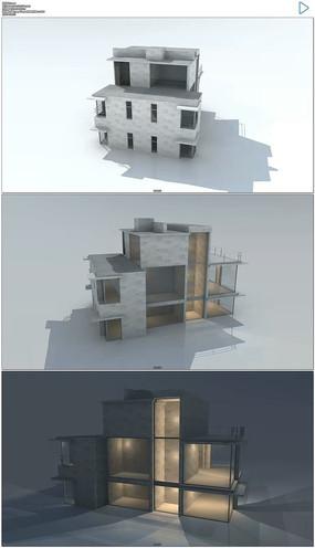 三维旋转的房屋结构模型视频素材