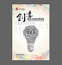 企业文化励志展板字母灯泡