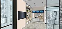四楼室内家装su草图设计效果图3d