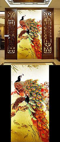 国画孔雀图古典装饰画玄关