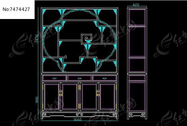 原创设计稿 cad图库 室内装修 梅花镶草龙角牙博古架设计生产结构比例