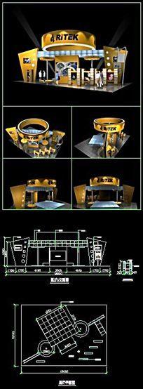 某科技公司展厅3D模型带CAD施工图及渲染效果图(含材质、灯光)