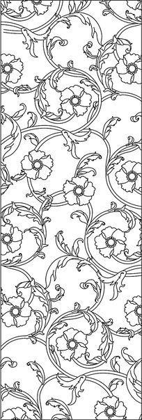 欧式花黑白线图雕刻图案