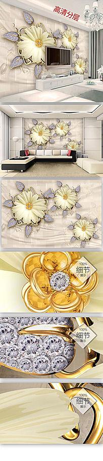 奢华欧式宝石花朵丝绸珠宝背景墙