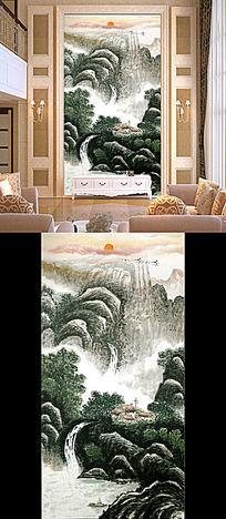 水墨国画风景玄关壁画