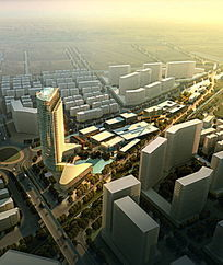 现代都市建筑鸟瞰图