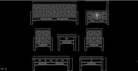 中国风花格软包沙发设计生产结构比例图