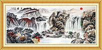 高清现代中式山水国画书房装饰画
