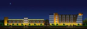 建筑夜景照明动画