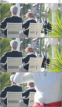 老年人幸福生活度假晒太阳实拍视频素材