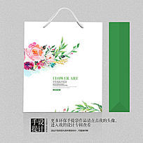 绿色水墨食品保健品中国风手提袋设计