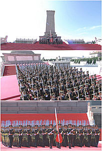 人民英雄纪念碑国旗护卫队行进实拍视频