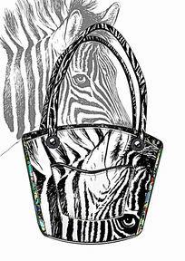 斑马纹手拿包tote包设计