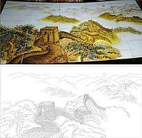 长城风景雕刻图案