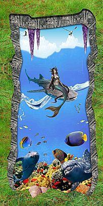美人鱼3D地画瓷砖画