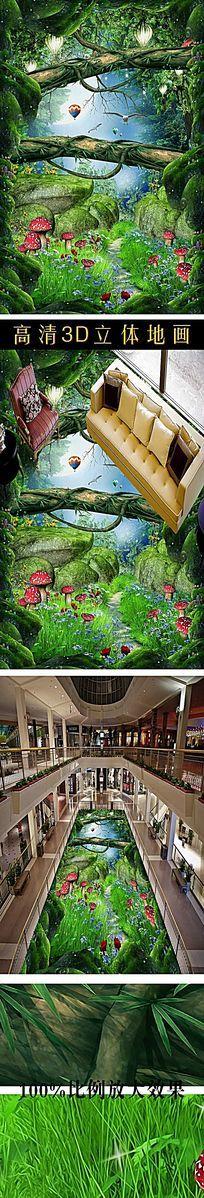 梦幻森林小路浴室厨房3D地板 PSD