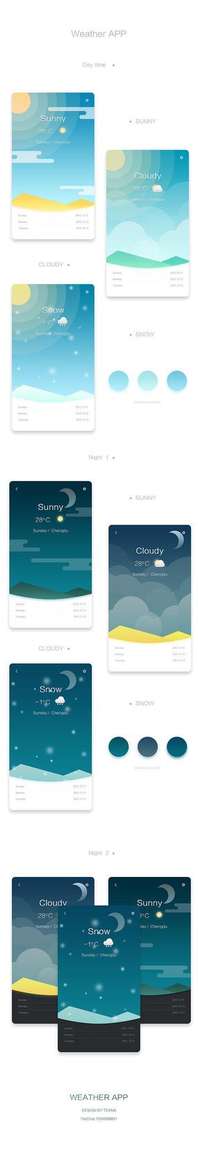 天气APP界面设计 PSD