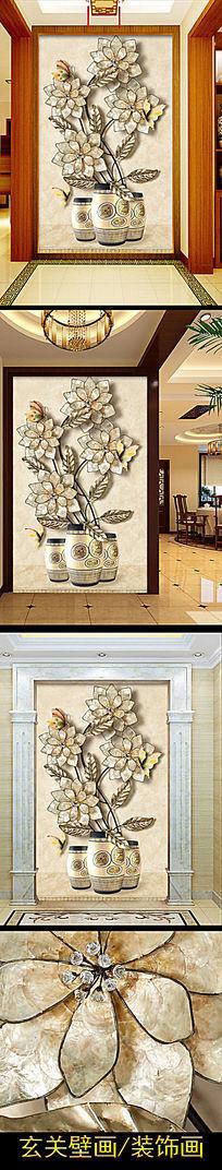 3D彩雕金属牡丹花卉蝴蝶壁纸玄关