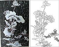 黑白荷花鱼雕刻图案