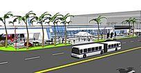 汽车站广场景观模型