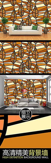 艺术树叶纹理图案电视背景墙
