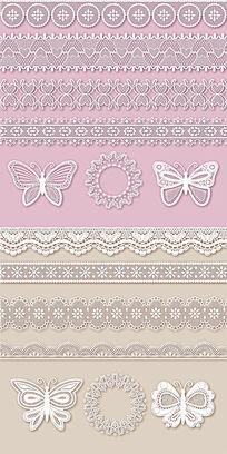 蝴蝶蕾丝花边装饰矢量素材