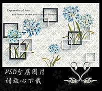 蓝色油画蒲公英3D背景墙