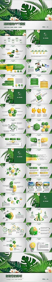 清新植物绿色教学设计述职报告PPT