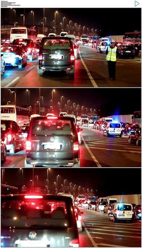 夜晚车流交通堵塞实拍视频素材 mov