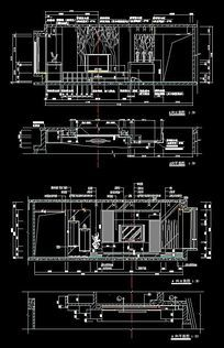 2套现代电视墙CAD立面施工详图