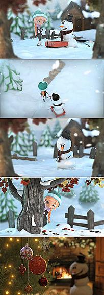 卡通小女孩帮助雪人过冬动画视频