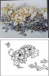 泼墨牡丹雕刻图案