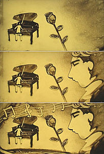 沙画音乐老师弹钢琴帅哥送玫瑰视频