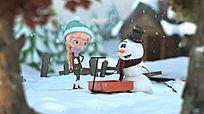 圣诞节卡通小女孩雪人动画片头模板