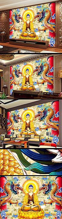 雙龍戲珠中國龍佛像電視背景墻