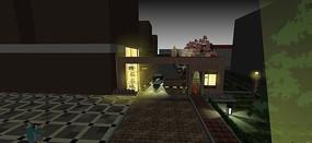 小区夜景大门模型
